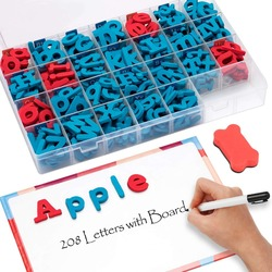 Letras de espuma magnética 208 pçs alfabetos sala de aula conjunto com placa ímã para crianças abc ortografia e aprendizagem brinquedos para crianças meninos