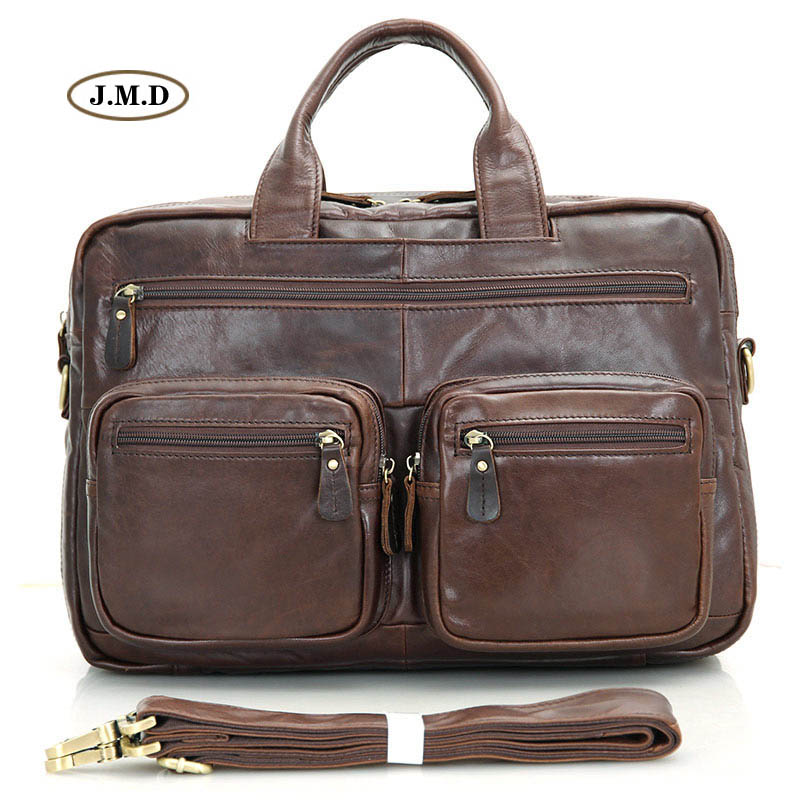 J.M.D New Arrivals High Quality Genuine Cow Leather Brown Men's Fashion Classic Design Briefcase Laptop Bag Shoulder Bag 7231Q the new high quality imported green cowboy training cow matador thrilling backdrop of competitive entrance papeles