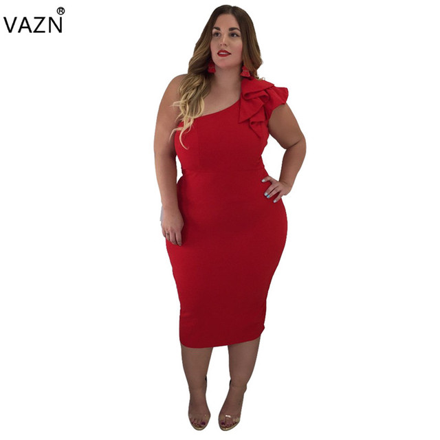 87f2ffac5e VAZN 2018 summer hot solid red short dress women sexy one shoulder  sleeveless dresses ladies hollow