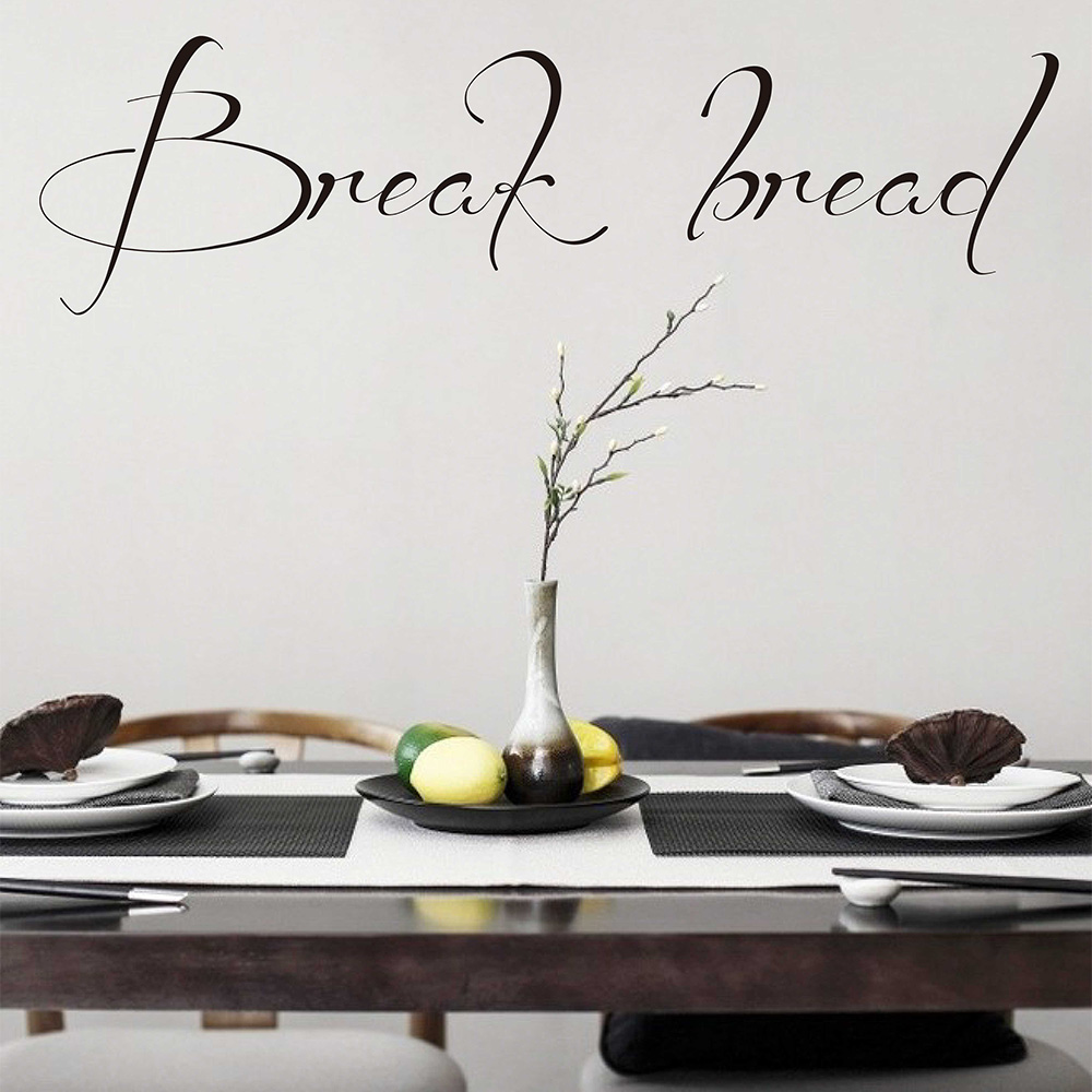 Wall Quote Decal Break bread Kitchen Wall Sticker Dining Room Vinyl Wall Decal Lettering Wall Stickers Gift for Mum 725Q