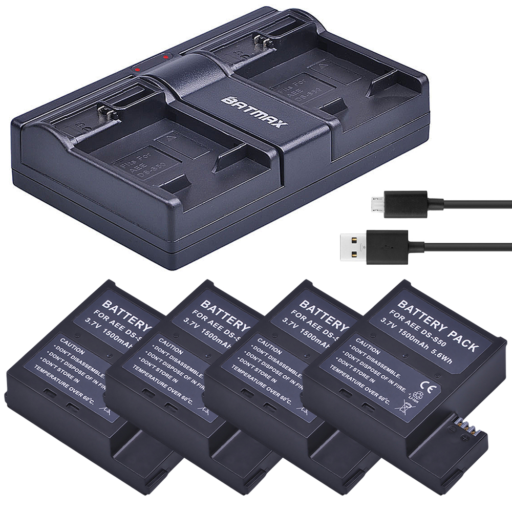 цена на 4Pcs 1500mAh DS-S50 DSS50 S50 Battery Akku + USB Dual Charger for AEE DS-S50 S50 AEE D33 S50 S51 S60 S71 S70 Cameras Battery