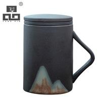 TANGPIN japanese ceramic tea mugs with lid black coffee mugs 320ml