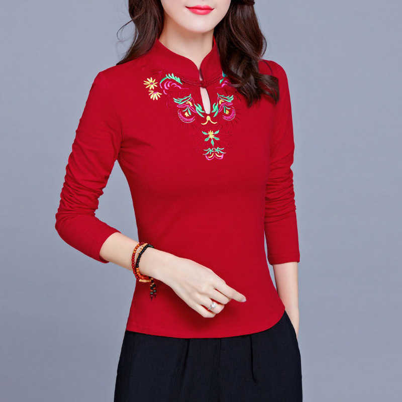 Vintage Ethnic Embroidery Long sleeve T shirt Women Stand collar 95% Cotton Plus size Ladies Tee Shirts Tops Autumn Bottoming