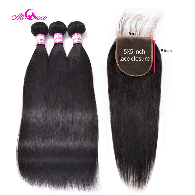 Ali Coco Brazilian Straight Hair With Closure 5x5 Lace Closure With 3 Bundles Weave Non Remy
