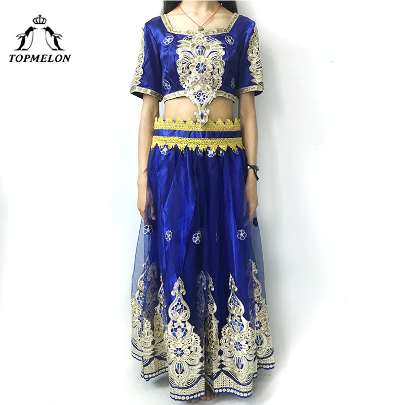 TOPMELON Belly Dance Costume Floral Pattern Luxury Two Piece Crop Tops & Skirts Bollywood India Style Smooth Appliques