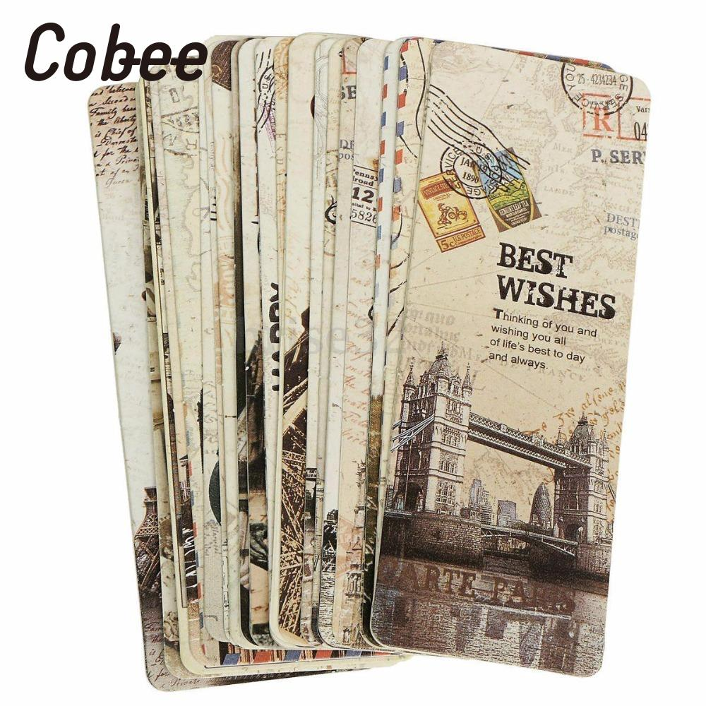 Cobee 30Pcs New European Scenery Note Pad Bookmarks Tab For Books Memo Label Stationery Office Marker Funny Gift Accessories