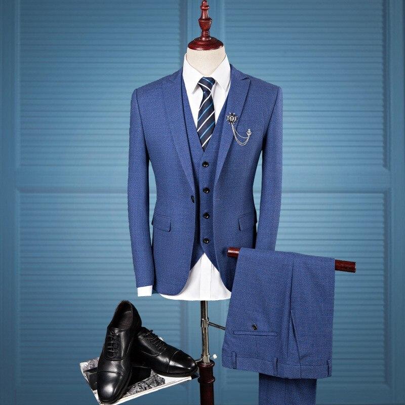 Nouveau Slim Fit hommes costumes mariage marié grande taille 4XL Gentleman affaires décontracté robe de smoking mâle gris foncé bleu 3 pièces costume - 3