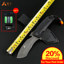 Free Shipping High Quality Hunting Knife Outdoor Survival Camping Knife Tactical Knife with Plastic sheath with whistle