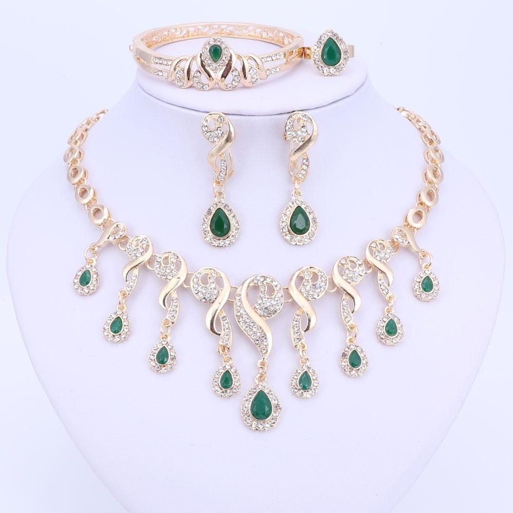 Schmucksets & Mehr Schmuck Sets Gelernt Schmuck Sets Dubai Gold-farbe Set Afrikanische Hochzeit Halskette Braut Kostüm Kristall Schmuck Gelb Frauen Geschenk Ohrringe