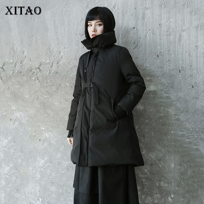 [XITAO] Long Women Korea Fashion New Women 2018 Winter Full Sleeve Coat Female Bandage Solid Color Turtleneck   Parka   LYH2380