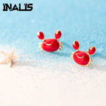 INALIS New Simple Design 925 Sterling Silver Cute Crab Shape Stud Earrings Gold Plated Red Color Brincos for Girl Party Jewelry