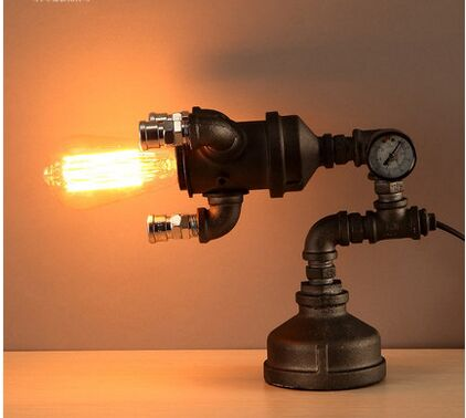 retro meter water pipe iron industrial table lamp personality vintage luminaria de mesa desk lampe deco
