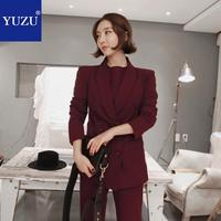 Jacket Women 2018 Autumn Fashion Burgundy Long Sleeve Double Breasted Office Lady Work Business Professional Coats And Jackets