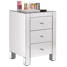 Mirrored Nightstand with 3 Drawer