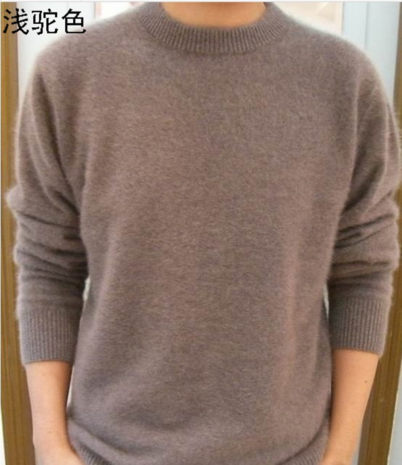 Lafarvie Off Sale Standard Solid Pullovers Hele Øreringe O-Neck 100% Mink Cashmere Auturm & Winter Men Formel Strikket Sweater