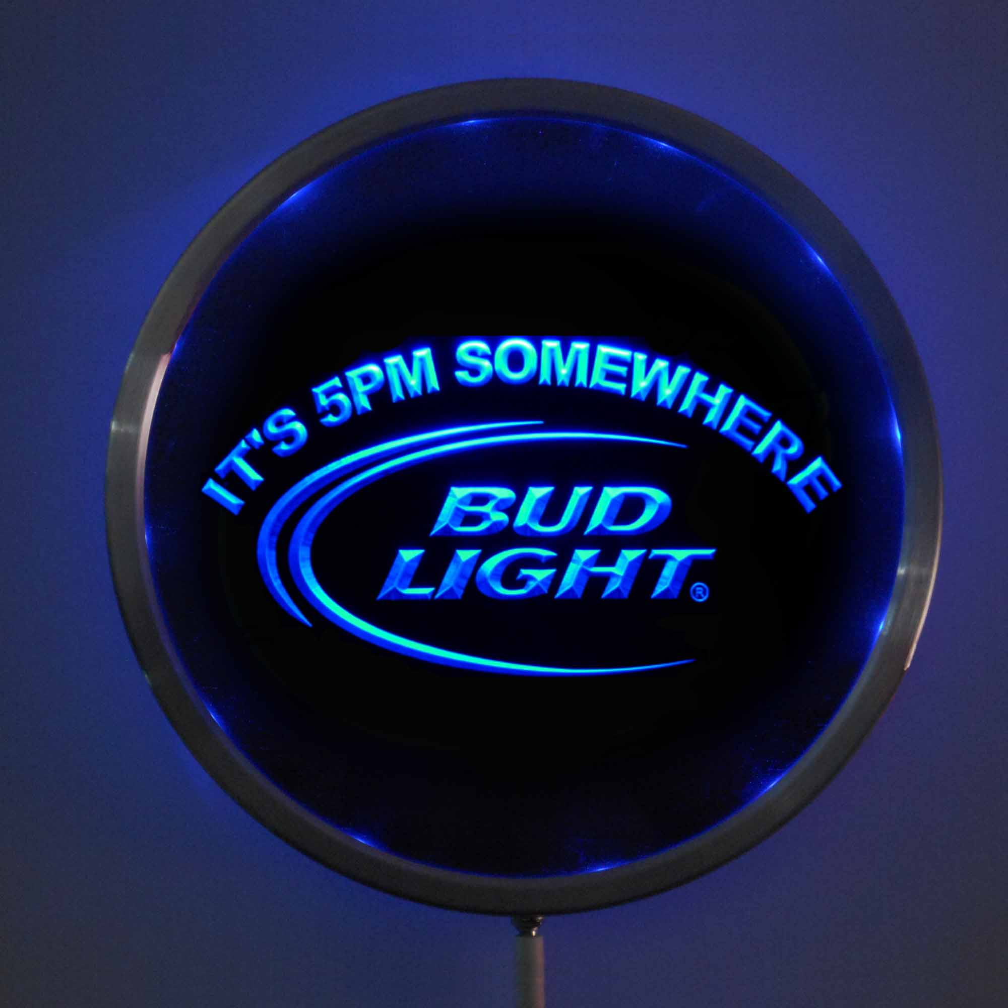 rs-0094 Bud <font><b>Light</b></font> 5pm LED Neon Round Signs 25cm/ 10 Inch - Bar Sign with RGB Multi-Color Remote Wireless Control Function