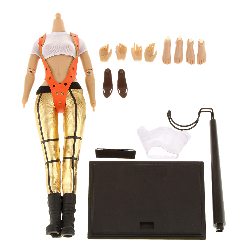 Rubber 1/6 Scale Female Body Figure Clothing Set With Extra Hands Feet - Outfit 3 Action Toy Figures for Dolls Lover Collection