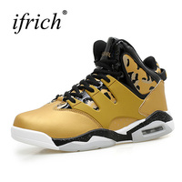 Ifrich Basketball Sport Trainers Big Size Mens Basketball Shoes High Top Couples Basketball Boots White Yellow