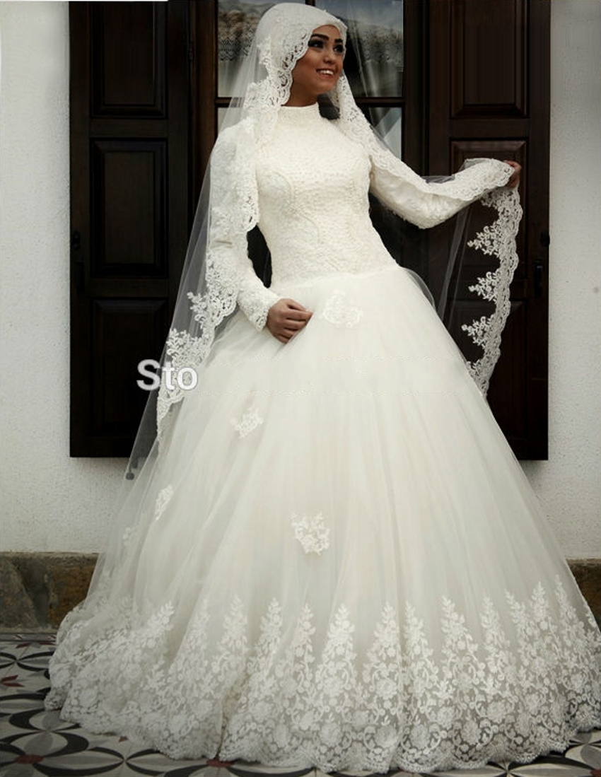 High neck tulle beaded hijab arab long sleeve white lace for White long sleeve lace wedding dress