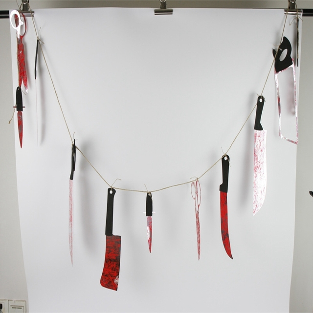horror spooky halloween props scary saw bloody knives hanging garland pennant banner party haunted house decoration - Scary Props