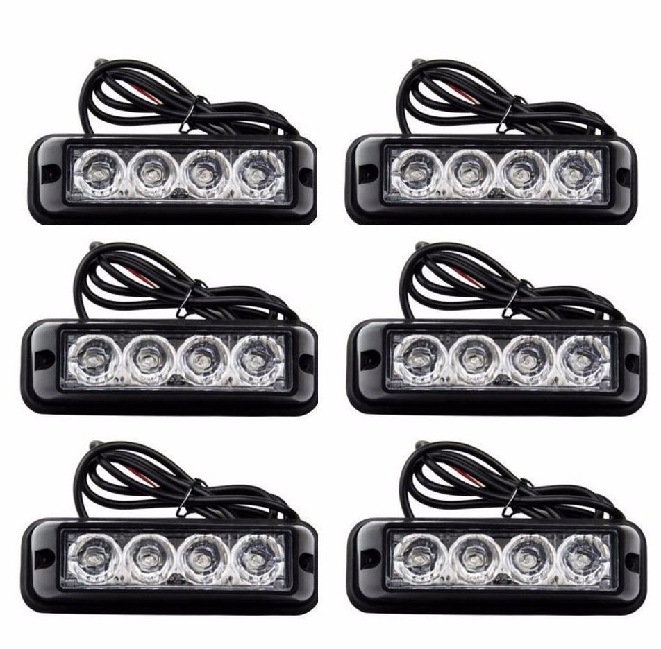 08002 new video 12v Universal 6X4LED Quality Truck Emergency Beacon Light Bar Hazard Strobe Warning Universal fit for SUV Trucks