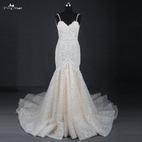 LZ213 New Arrival Real Bridal Gowns Sweetheart Sleeveless Weddding Dresses Elegance Lace Pearls Long Mermaid Dresses