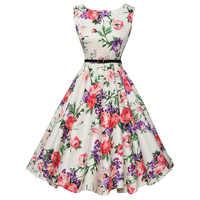 Vestido de verano para mujer 2018 vestidos Vintage Retro Floral para mujer 50s 60s vestido de fiesta Casual Rockabilly talla grande vestidos de mujer