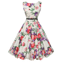 a4caa7fd3d4b16 Womens Summer Style Floral Print Retro Vintage 50s Polka Dot Casual Party  Robe Rockabilly Dresses Plus