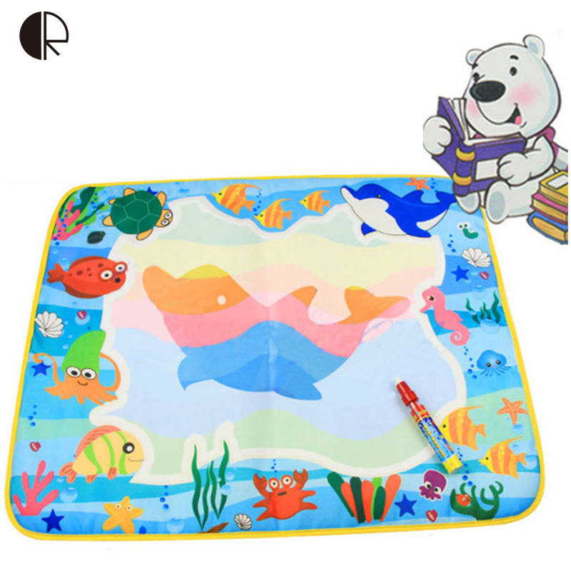 Kids Drawing Toys 60*49cm 4 Colors Water Drawing Mat Magic Water Pen Drawing Board Baby Play Mat Educational Toys HT576