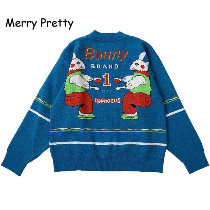 Merry Pretty Autumn Women Pullover Sweater Bunny Letters Thick Warm Knitted Pullovers Unique Design High Quality Winter Sweaters
