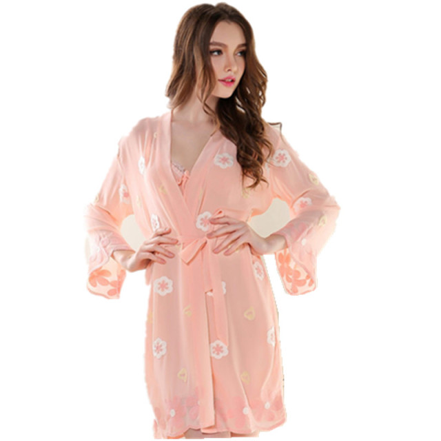 Women's Embroidery Robe Set Sexy Female Nightwear & Sleepwear Set Wholesale Price Best Gifts Items For Friends Christmas Gifts