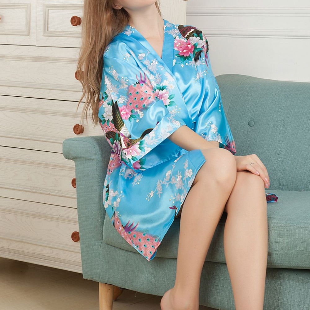 Women Floral Printed Satin Robe 2018 Lady Kimono Dress Gown European American Style Famale Satin Pajama Sleepwear Drop Ship