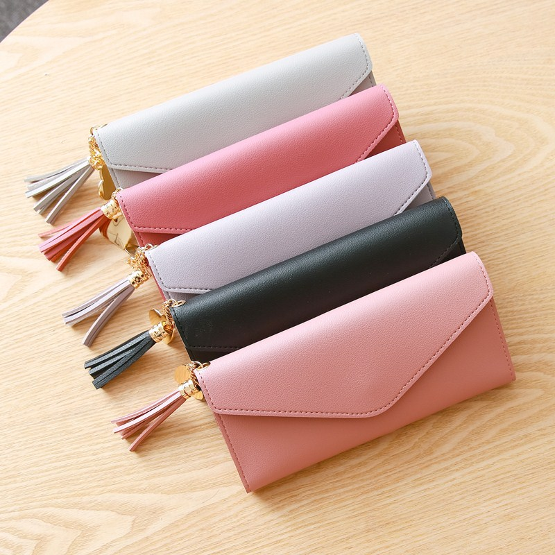 Litthing Solid Women Wallet Case Sweet Heart Pendant Tassel Envelope Long Wallet Women Kawaii Bag Money Pouch Card Id Holders sweet women s wallet with bow and solid colour design