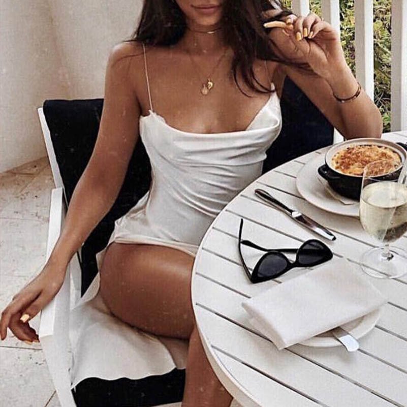 NiceMix 2019Solid V Neck Satin Dress Summer Sexy Club Party Dresses 2018 High Slit Backless Spaghetti Strap Casual Dress Elegant in Dresses from Women 39 s Clothing