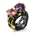 New fashion Rings for women black gold plated with cubic zircon stone finger ring party jewelry Free shipment full size