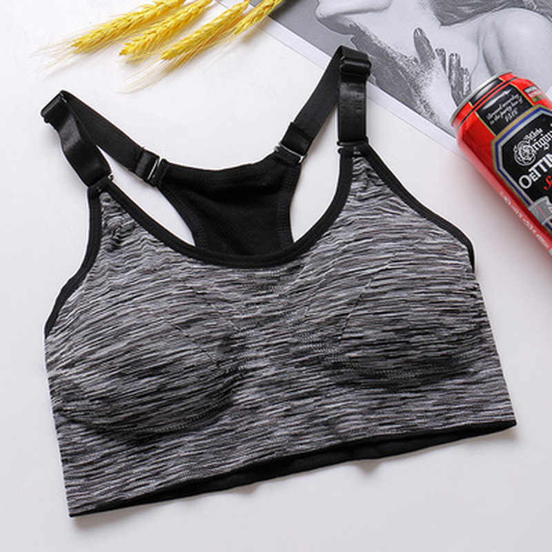 Cepat Kering Olahraga Grey Bra Wanita Empuk Wirefree Adjustable Shakeproof Kebugaran Pakaian Push Up Seamless Yoga Menjalankan Tops