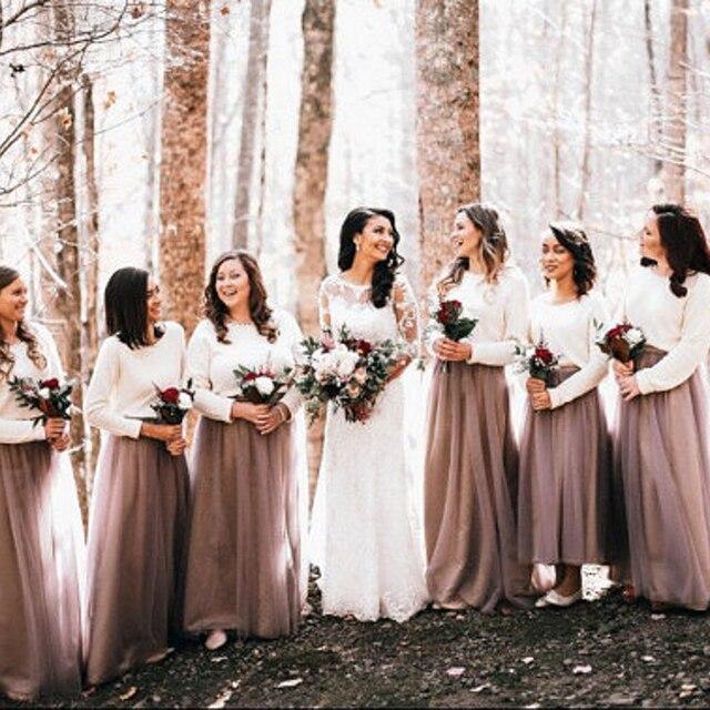 6f8a08e9c9 Customized Bridesmaid Skirts Nature Waistline A Line Floor Length Long Maxi  Skirt Long Full Tulle Skirt For Party