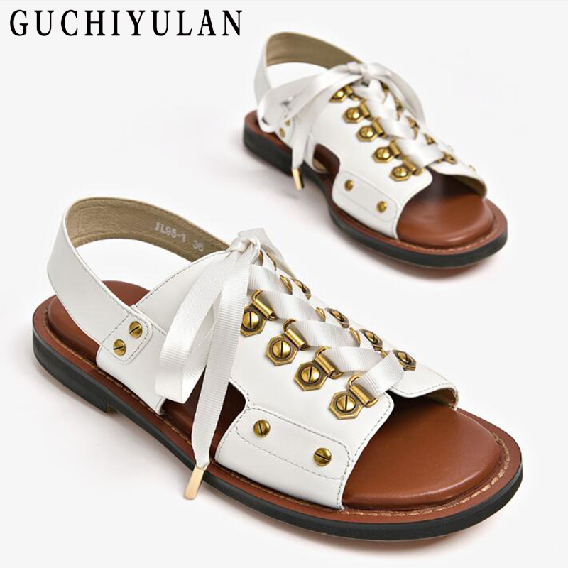 new women sandals cow genuine leather sandals flat summer shoes woman fashion punk gladiator Women leather sandals ladies shoes цена