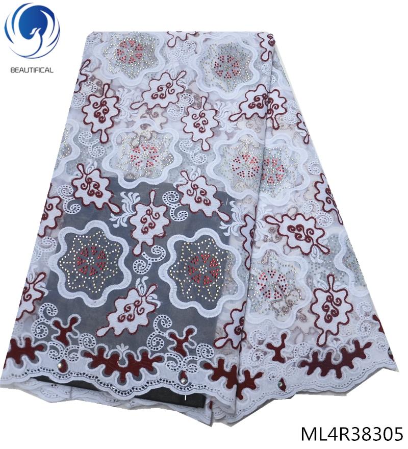Belle dentelle africaine broderie strass tissu de luxe dentelle africaine tissu fleur coton suisse dentelle matériel ML4R383