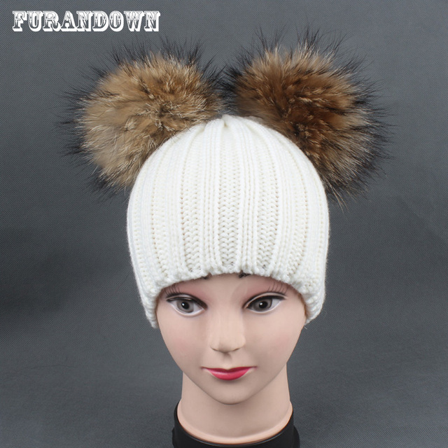 c063f9164 US $12.74 8% OFF|2018 Winter Baby Hat With Two Pompoms Boy Girls Pom Pom  Beanie Kids Caps Real Raccoon Fur Pompom Hat for Children-in Men's Skullies  & ...
