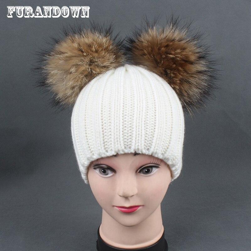 2018 Winter Baby Hut Mit Zwei Pompoms Junge Mädchen Pom Pom Beanie Kids Caps Echt Waschbär Fell Pompon Hut Für Kinder