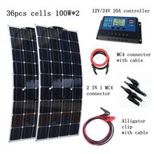 2pcs 100W Flexible Solar Panel Module with 20A Solar Controller with Quick Connection Cables 200W House-use Solar Power System