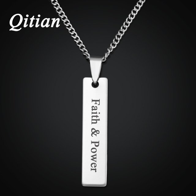 Qitian diy custom laser engraved name bar necklace women men qitian diy custom laser engraved name bar necklace women men jewelry stainless steel personalized statement aloadofball Image collections