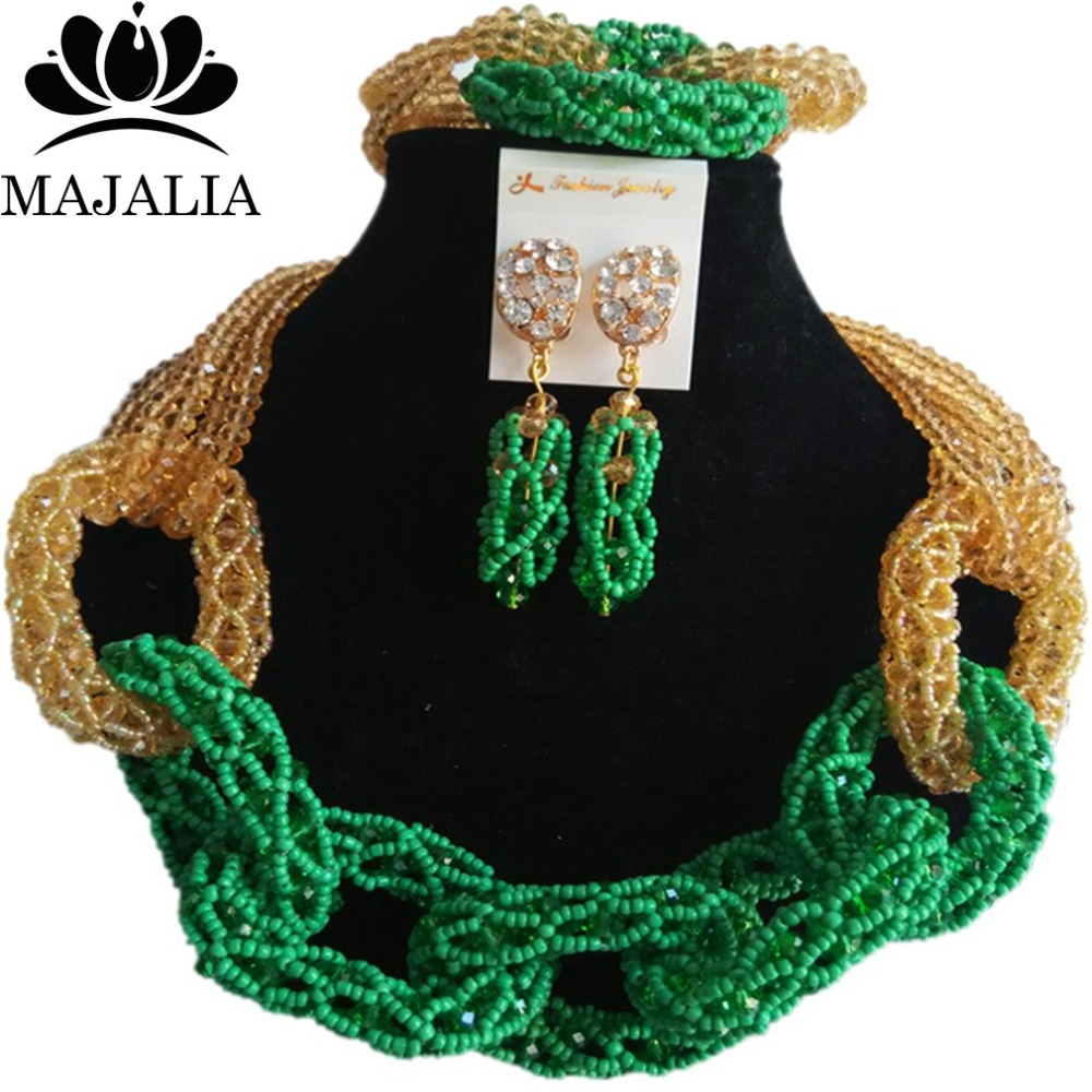 Majalia New Fashion Nigerian Wedding African Jewelery Set Green and Champagne Crystal Necklace Bridal Jewelry Set 2RF005