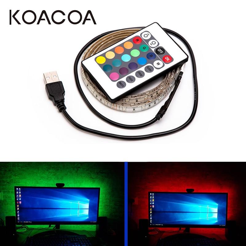 5V USB LED Strip Light RGB 2835SMD Flexible LED Light Tape Ribbon 1M 2M 3M 4M 5M HDTV TV Desktop Screen Backlight Bias Lighting
