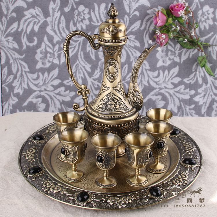 Xinjiang upscale Russian tin jug wine glass crafts furnishings classic tin ornaments
