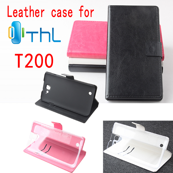 High Quality PU Flip Leather Cover Case For THL T200 With Retail Package