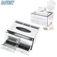 SAFEBET Роскошная брендовая Европейская мода рабочего Коробка для хранения большой Ёмкость Бумага полотенце Jewelry Косметика рабочего Коробка для хранения