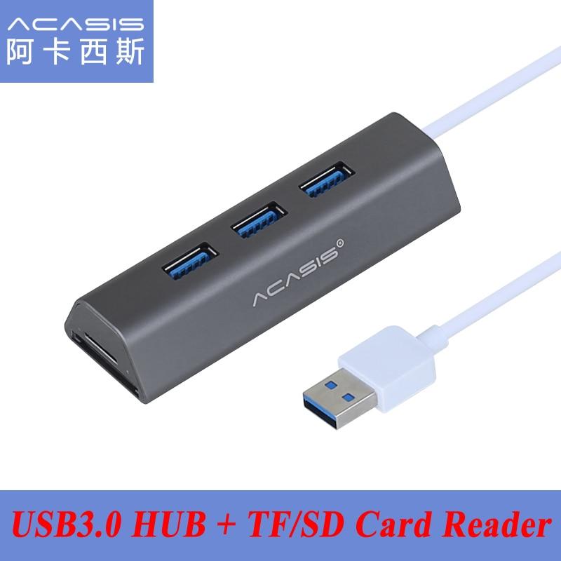 Acasis HS0064 USB3.0 Alluminio Multifunzione COMBO USB 5 Gbps 3 Porte USB 3.0 HUB Splitter Adapter + TF/Micro SD; lettore di schede SD