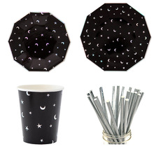 Black Paper Tableware Set Star Plates Striped Straws Cups For Birthday Wedding Party Decor Disposble Xmas